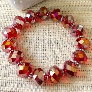 Jewelry - Sparkly Fiery Red Faceted Crystal Bracelet
